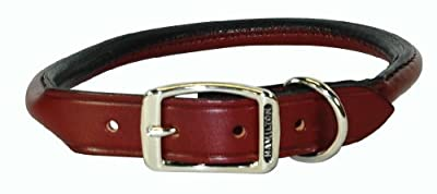 "Hamilton 1/2"" x 18"" Burgundy Rolled Leather Dog Collar"