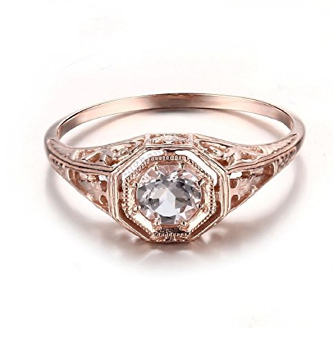 Gowe Vintage Antik massiver 14 Karat Rotgold 4,5 mm runder Morganit Verlobungsring Ehering Art Deco Damenschmuck feiner Ring