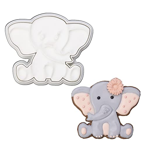 Mostop 3D Cookie Cutter with Elephant Stampers Baby Shower Cake Mold Fondant Decorating Tools DIY Mold for Sugar Craft Baking Mould Kids' Birthday Party Kitchen Tools