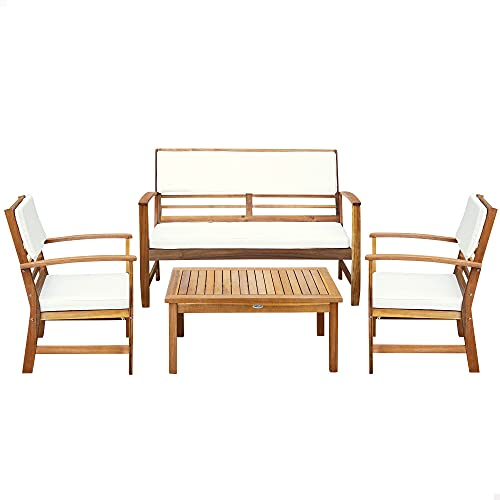 Aktive 61001 - Conjunto muebles de jardín, Conjunto muebles de madera, Muebles jardín, 1 mesa, 2 sillas, 1 banco, cojines color beige, Madera de acacia