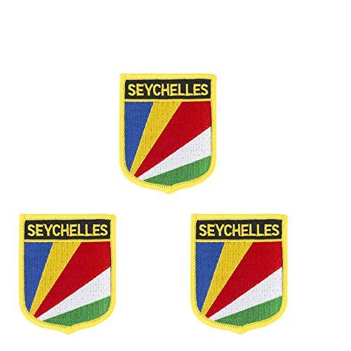 Aufnäher mit Seychellen-Flaggen-Motiv, bestickt, zum Aufbügeln oder Aufnähen, 3 Stück