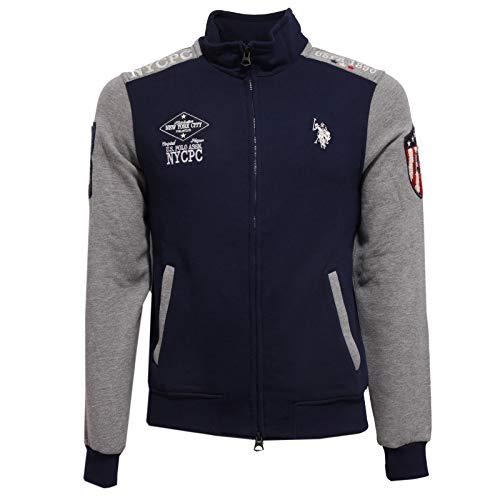 U.S. POLO ASSN. 8853AA Felpa Uomo Grey/Blue Full Zip Cotton Sweatshirt Man [4XL]