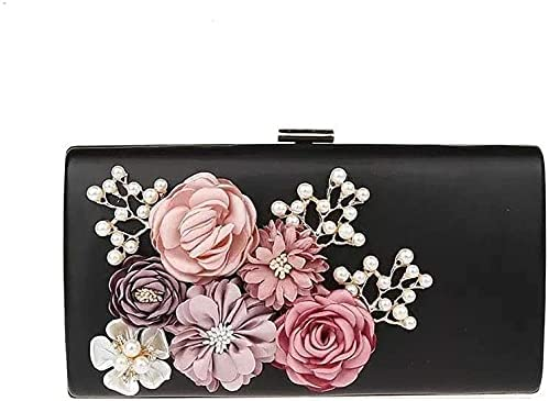 Women's Evening Handbags Evening Bag Lady Flower Clutch Bag, Bridal Bag, Banquet Bag, Dress Bag (Color : Black)