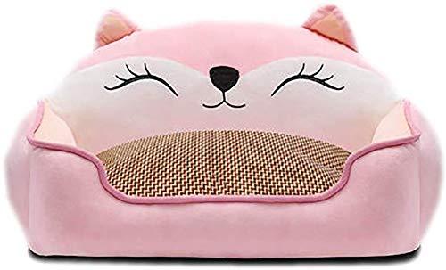 YLCJ Afneembare hondenkennel voor alle seizoenen, Dubbelzijdige ademende kennel, Comfortabel huisdierennest voor huisdieren, Antislip-hondenmand, Eenvoudig schoon te maken dierenbenodigdheden - Grijs (Kleur: geel, Grootte: L (75x60cm)), S(50x40cm), roze