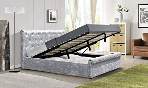 Comfy Living Crushed Velvet Diamante Chesterfield Ottoman Sleigh Bed Frame in Silver 3ft 4ft6 5ft (3ft Single, No Mattress)
