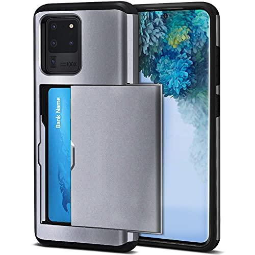 para Samsung S20 FE S21 Note 20 Ultra 10 9 8 S10 E 5G S9 S8 Plus Slot Armor Wallet Ranuras para Tarjetas Estuche para Galaxy S7 S6 Edge Plus, Gris, para Galaxy S20 Ultra