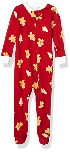 Amazon Essentials Kid's Baby and Toddler Zip-Front Footed Sleeper, Red Gingerbread, 2T