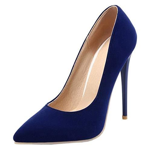 Etebella Damen Lack High Heels Spitze Pumps mit Stiletto 10cm Absatz Klassische Büro Arbeit Schuhe(Nubuk blau,34)