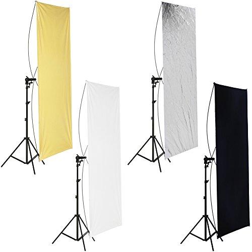 Neewer 90x 180cm Foto Studio Flat Panel Light Reflektor mit 360Grad drehbar Halterung und Tragetasche-Gold/Silber und Schwarz/Weiß