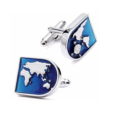 ODETOJOY 1 Paar Messing Manschettenknöpfe Herrenmanschettenknopfe Weltkarte Globus Hemd Für Hochzeit Herren Blau Silberfarbene