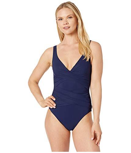 Shan Shirred Wrap Surplice One Piece Swimsuit, Navy, 12