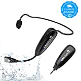 Fitness Wireless Microphone, KIMAFUN 2.4G Wireless Waterproof Headset Microphone with Transmitter and 3.5mm Receiver, For Fitness Instructor, Spinning, Yoga, Smartphone, Speaker, G100-1