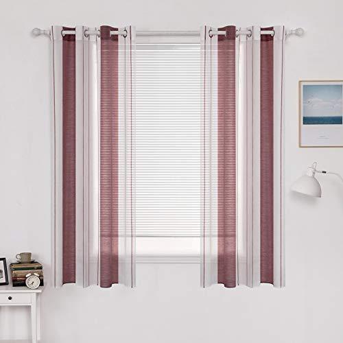 MIULEE Vorhang Voile Transparente Streifen Gardine aus Voile mit Ösen Schlaufenschal Ösenschals Halbtransparent...