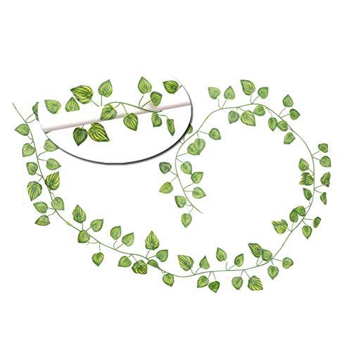 Guirnalda de flores artificiales de plástico de 2 m de 2 m con hojas de seda, color verde