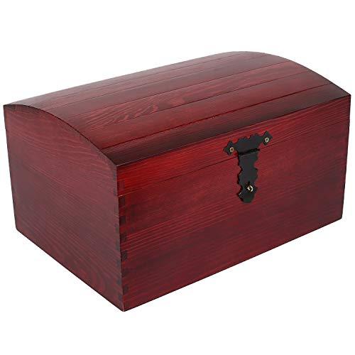 Creative Deco Rouge Coffre Boîte de Rangement Bois | 34,5 x 25 x 19,2 cm | avec Fermoir et Couvercle Courbé | Grande Caisse Malle à Décorer | Parfait pour Jouets, Outils, Documents et Objets