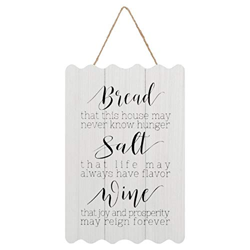 Farmhouse Wall Decor Rustic Sign, Bread Salt Wine,Restaruant Sign Rustic Wavy Wooden Sign Decor, Housewarming Gifts, 8 x 12 Inch