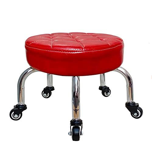 JBTM Panca Piccola 8 cm di Spessore, Seduta Rotonda in Pelle, sgabelli da Pedicure per Adulti, Girevole a 360 °, 3 Ruote Diverse,C