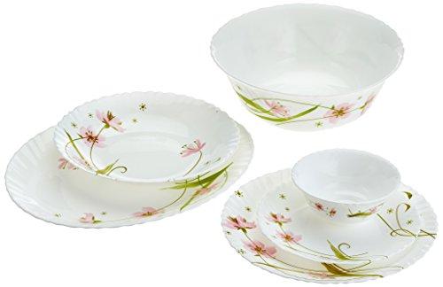 Dajar Selma - Vajilla (26 piezas) ARCOPAL - Cristal, color blanco rosa verde, 31,3 x 16,1 x 29,7 cm, unidades