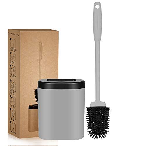 Toilettenbürste Silikon WC Bürste mit Halter , Klobürste mit schnell trocknendem Haltersatz , an der Wand montiertes, flaches, Flexibles Toilettenschüssel Bürste für Badezimmer Toilette [Grau]