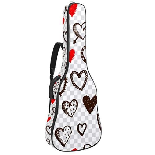 Funda de Guitarra Española Amor romántico simple Bolsa Acolchada Para Guitarra Acústica con Asa de Transporte y Correa Para el Hombro 109x43x12cm