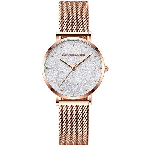 RORIOS Moda Mujer Relojes de Pulsera Estrellada Dial Acero Inoxidable Relojes de Mujer Reloj de Dama