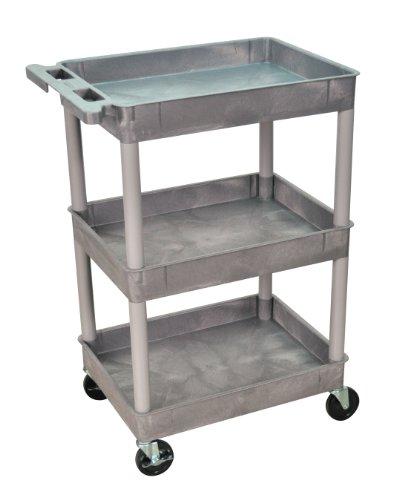Luxor/H.Wilson 3 Tub Shelf Utility Cart, Gray (STC111-G)