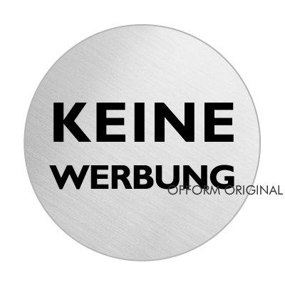 Briefkastenschild -Keine Werbung | Edelstahlschild Ø 60 mm | selbstklebend | Original aus der Ofform Design Nr.7023