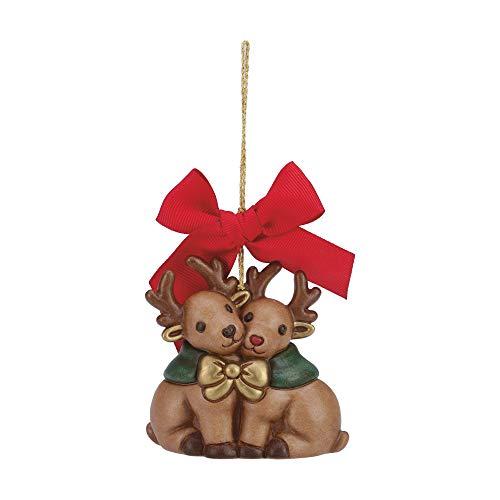 THUN ® - Addobbo per Albero di Natale Renne Piccole Natale Insieme - Ceramica - h 8 cm - Linea I Classici