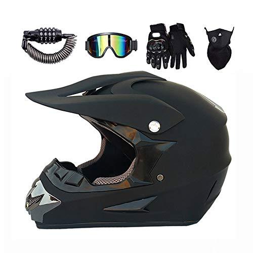 LEENY Motocross-Helm, Motorrad Sports Off-Road DH Enduro ATV-Helm Quad Motorradhelm für Männer Damen, Herren Motorräder Cross-Helm Sets mit Brille, Maske, Handschuhe, Schloss, Schwarz,Xl