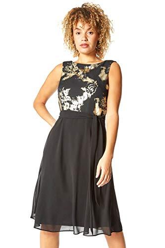 Roman Originals mujeres contraste metálico floral ajuste y vestido de llamarada - Negro - 42 ES