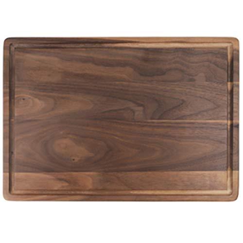 VANOLU Nogal Negro de Cortar de Tabla de Filete Bandeja de Filete de Madera Maciza Tabla de Corte de la Cocina Conservadora Placa de Filete Ranurada Bandeja de Pan