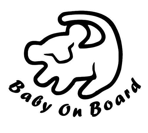 TAMZAM - Baby on Board Lion King |Decal|Vinyl|Sticker|Black|Cars Trucks Vans SUV Laptops Walls Glass Metal |5.5' X 4.5'|