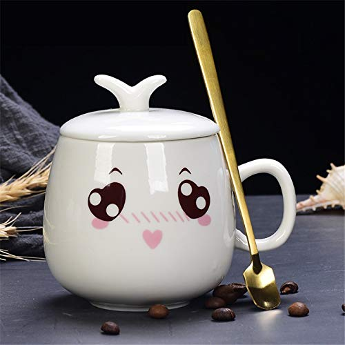 RZHIXR Cute Emoji Mark Cartoon Printed Ceramic Coffee Cup, Household Children'S Milk Cup, Spoon With Lid 350ml
