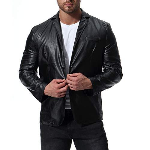 Men's Faux Leather Suit Lapels Motorcycle Bomber Jacket Casual 5 Buckle Blazer Black