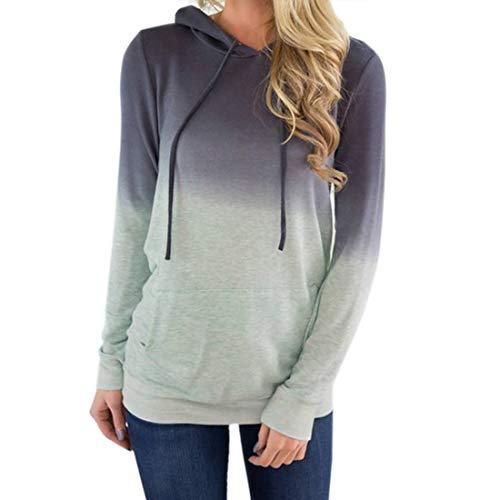 Damen Sweatshirt Langarm Mode Gradient Hooded Sweatshirt Damen Freizeit Kordelzug...