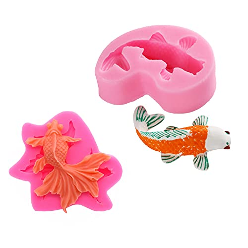 TROYSINC Koi - Molde de silicona para decoración de peces, animales y peces (2 unidades)