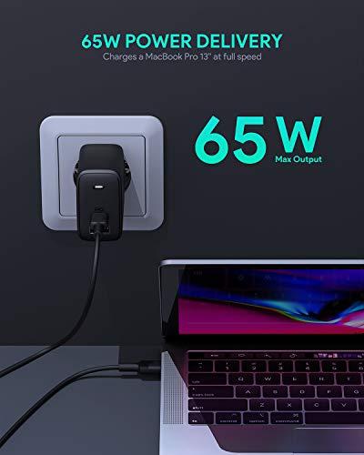 AUKEY Omnia USB C Ladegerät 65W, USB-C Netzteil mit GaNFast Tech & Dynamic Detect, Schnelles PD Ladegerät für 13''MacBook Pro, iPad Pro, iPhone SE, Google Pixel 4XL, Nintendo Switch