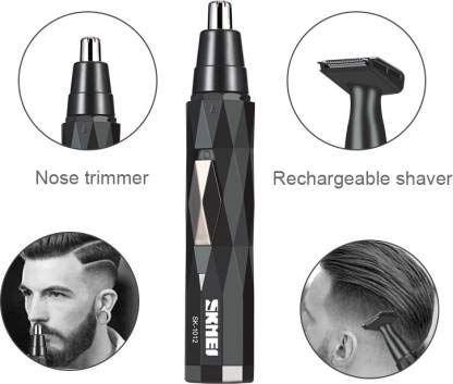 Skmei 1012 Black 2 in 1 electric nose rechargeable round angle rich and classy hair trimmer with long lasting battery Runtime: 60 min Trimmer for Men & Women (Black)