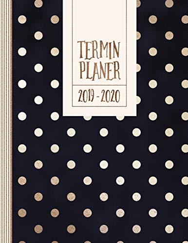Terminplaner: Terminplaner 2019-2020: 18 Monate Planer Kalender A4 - Organizer ab Juli 2019 bis Dezember 2020 - Jahresübersicht Monatsübersicht ... Mit To Do Liste, Notizen - Blau Gold Punkte