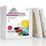 PHOENIX White Blank Cotton Stretched Canvas Artist Painting - 6x6 Inch / 7 Pack - 5/8 Inch Profile Triple Primed for Oil & Acrylic Paints