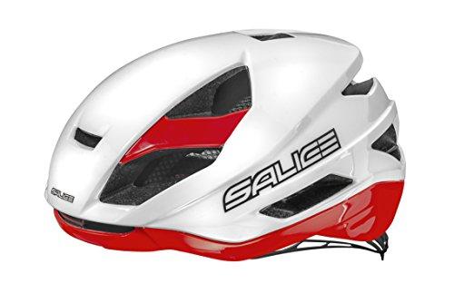 Salice Levante - Casco de Ciclismo, Color Blanco/Rojo, Talla 58-62 cm