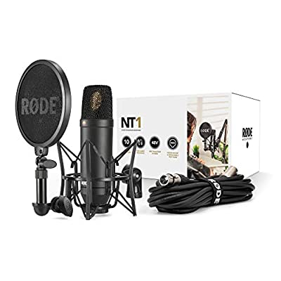 RODE NT-1 KIT Composed of Condenser Microphone, SM6 Support and Integrated Antipop, Black