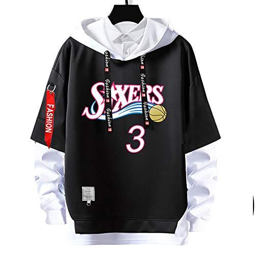 76ers kapuzenpullover,No.3 allen#iverson Pullover Basketball Uniform Fans Training Trikots,Herren- und Damen-Hoodie Basketballtrikot,Geeignet für Paare,Kein Ball,Keine Verformung,Blacka-L