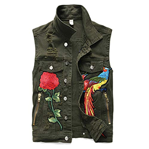 European Style Men Army Hip Hop Green Loose Embroidered Phoenix Flower Hole Ripped Denim Vests Pants 2 Pieces Set Vest L