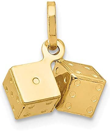 14k Yellow Gold 3d Dice Pendant Charm Necklace Gambling Fine Jewelry For Women Gifts For Her product image