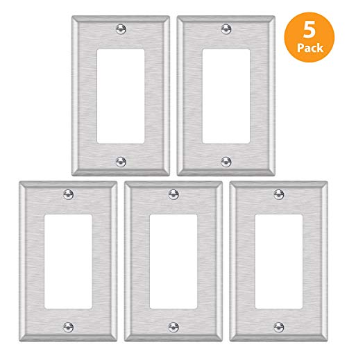 5 Pack - ELECTECK 1-Gang Metal Decor Wall Plate, Non-corrosive Stainless Steel Light Switch Outlet Cover, Standard Size 4.52 x 2.77, Silver