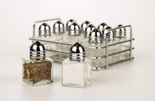 RSVP 12 Mini Salt Pepper Shakers Stainless Steel & Glass Server Restaurant New