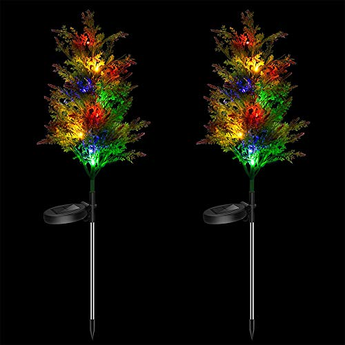 Solar Decorative Garden Stakes Lights, Christmas Party Outdoor Decor Trees with Multi Color LED Flash Lights Waterproof for Home Lawn Yard Patio Pathway Landscape, 2 Pack(Pine Trees)