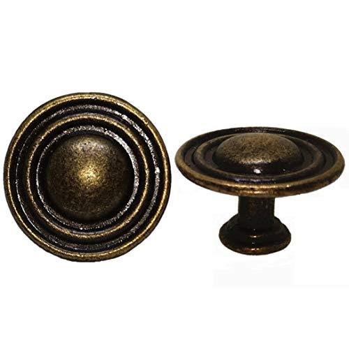 DFHM 20 Pomos y Tiradores Vintage Bronce, Zinc Pomo Antiguos Laton Redondo Clásicos Para Cajones y Puertas de Cocina Armario