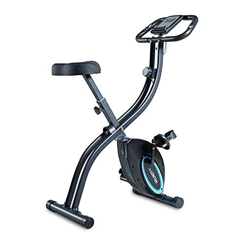LONTEK Bicicleta Estática Plegable, Bicicleta de Ejercicio con Pantalla LCD, 16 Niveles de Resistencia Magnética Ajustable, Sensor de Pulso, Peso Máximo 120KG